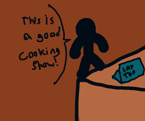 Stick figure watches a cooking show on laptop