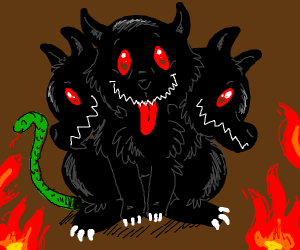 Cerberus, but cuter and kinda floofy