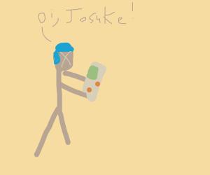 Okuyasu playing a Gameboy