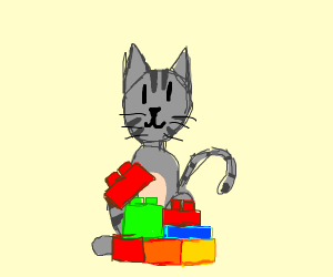 Cat playing with Legos