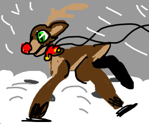 a sleigh with a rudolph the rednosed reindee