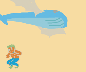 Buff man is afraid of flying whale