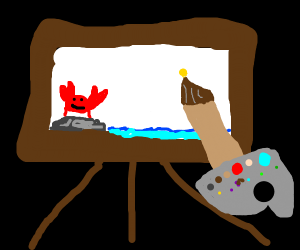 A painting of a crab on a rock