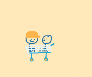 Two bros chilling in a shopping cart