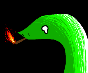 fancy snake smoking while crying