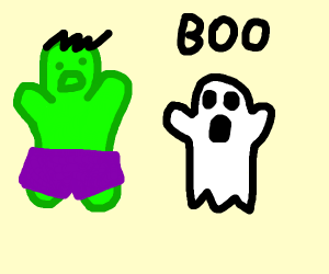 A spooky ghost scares Incredible Hulk