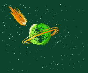 Meteor crashing on beautiful green planet