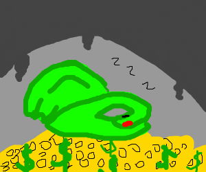 dragon sleeping in cave surrounded by gold