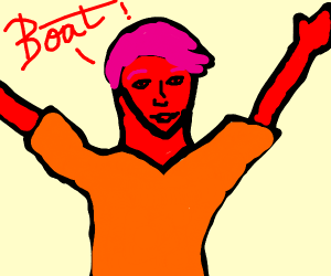 Red person screams about a boat
