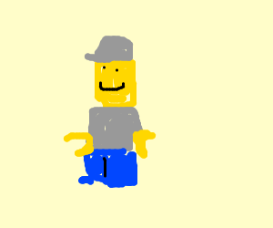 Lego man in grey jumper and hat