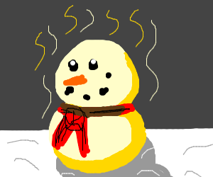 yellow snowman with red scarf