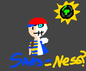 Ness (EarthBound) fused with Sans