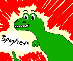 """dinosaur saying the """"spaghet"""" meme"""