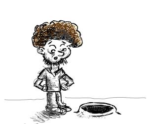 bob ross impressed by a blackhole