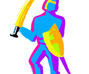 Colorful knight shows off his sword
