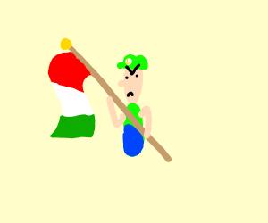 angry luigi holding italian flag