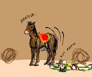 Cowboy falls off horse