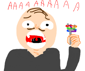 a man screaming with rainbow spagheti