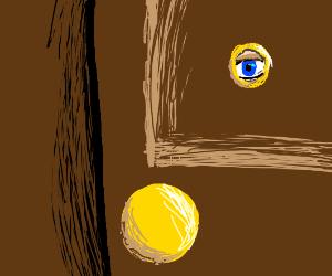 an eye looking through the peephole of a door