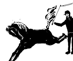 a man whipping a horses butt, about2 be kick