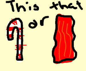 Is that a candy cane or is that bacon??