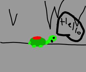 Mine turtle exploring the cave