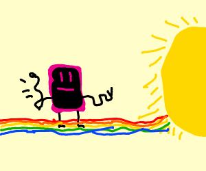 pink phone walks toward the sun