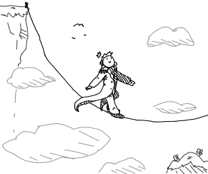 a prince walking on a tightrope