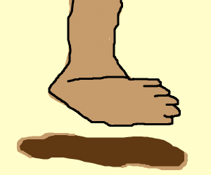 Foot stepping on mud