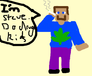 A Steve from Minecraft taking Drugs