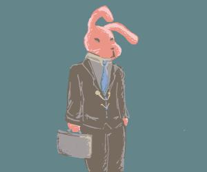 Elegant, dressed, unthrustworthy red rabbit