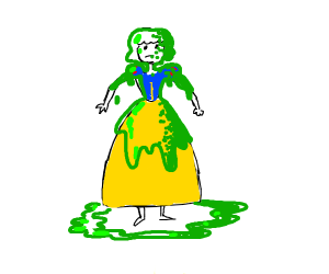 Snow white covered in slime
