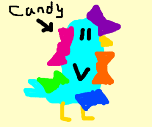 A hummingbird that is covered with candy