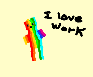 Rainbow man going to work
