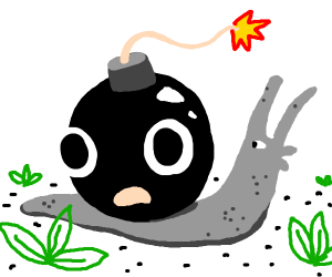 Snail with bomb on shell
