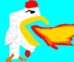 """F"" chicken/dragon spitting fire"