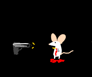 white mouse getting shot