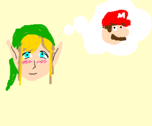 link has a crush on mario