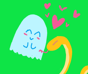 cute ghost and cute snake