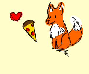 a fox who loves pizza