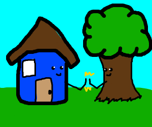 house and tree is friend