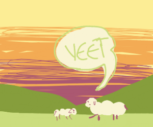 A sheep yeeting a smaller sheep