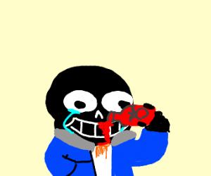 Black Sans eats ketchup and cries