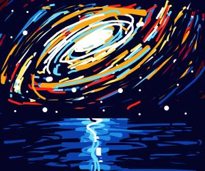 The Solar System behind an Ocean Sunrise