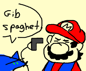 Sonic threatens Marios life with a gun