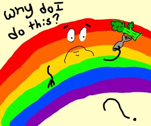 Rainbow questions eating broccoli