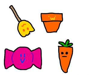 Broom, pot, candy, carrot