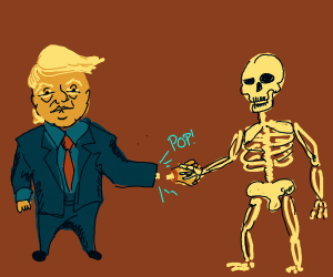 skeleton takes off Donald trumps hand
