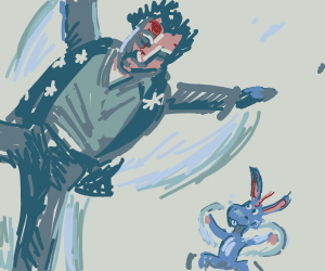 tiny Donkey and bleeding man make snow angels