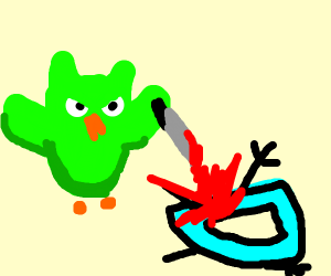 the duolingo owl murders drawception w/ knife
